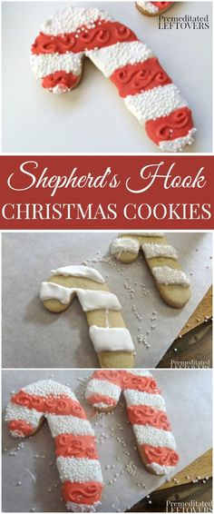 How to Make and Ice Shepherd's Hook Sugar Cookies - Check out How to Make Shepherd's Hook Christmas Cookies and decorate them with royal icing using these simple holiday cookie decorating tips.