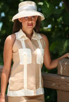 Aby's Women's Linen Sleeveless Guayabera Shirt with capri by Miriam Pozo Collection - Aby's Kids Cuban Dress, Short Outfits, Cool Outfits, Guayabera Shirt, Shirt Refashion, Dress Codes, Jeans Style, Fashion Details, Cuban Party