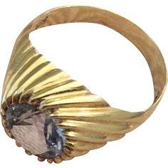 Aquamarine Ring 14K Gold 585 German Art Deco Vintage Jewelry WINTER SALE