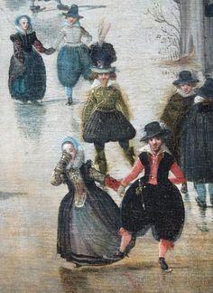 Op bovenstaande foto zie je een detail van het bekende schilderij Winterlandschap met schaatsers (circa 1608) van Hendrick Avercamp