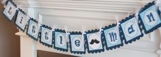 Mustache Neck Tie Bow Tie Navy Light Blue by DreamPartyPaperie, $27.00