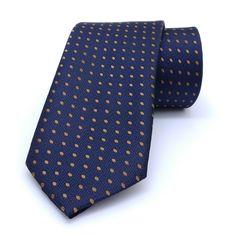 "Dark blue and brown dotted men's tie 7 cm (2,76"") SL-481. Dark blue and brown dotted men's necktie SL-481 Width : 7 cm (2,76"") Length : 150 cm (59,06"")."