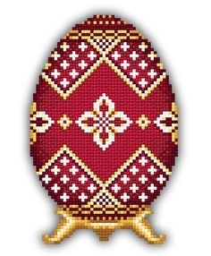 Red Faberge Egg with Silver Flowers by Solaria Gallery