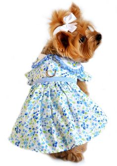Blue Belle Dog Dress from Doggie Clothesline