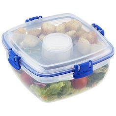 Eating healthy when you're on the move just got easier with our Klip-It Salad-to-Go. It features a generously sized main bowl for salad, a separate cup for dressing and two lift-out compartments for toppings. It even includes a snap-in fork and knife! Its compact size fits into a purse or backpack.  An airtight lid prevents spills and ensures freshness.