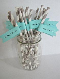25 Custom Paper Straws with Flag/ Bride & by LollipopsAndPussycat, $17.00