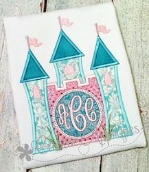 Castle Monogram Applique - 4 Sizes! | What's New | Machine Embroidery Designs | SWAKembroidery.com Creative Appliques