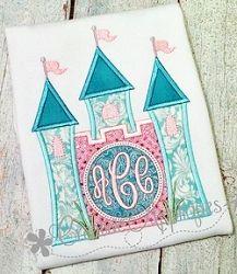 Castle Monogram Applique - 4 Sizes! | What's New | Machine Embroidery Designs | SWAKembroidery.com Creative Appliques