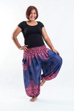 Plus Size Geometric Mandalas Women's Harem Pants in Blue