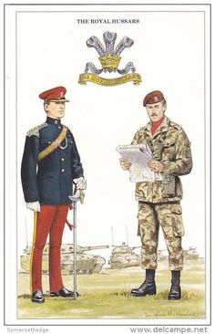 The Royal Hussars (Prince of Wales's Own), Lieutenant / Orderly Officer and Corporal, c A 1970 amalgamation of the and Hussars. Uniform Insignia, Military Insignia, Military Art, Military History, Military Uniforms, British Army Uniform, British Uniforms, British Soldier, African American History