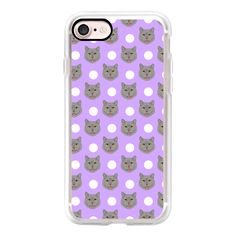 British Shorthair - polka dotted pattern grey cat in pastel lavender... ($40) ❤ liked on Polyvore featuring accessories, tech accessories, iphone case, print iphone case, iphone cover case, polka dot iphone case, pattern iphone case and purple iphone case