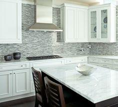 Kitchen Backsplash Blue glass tile backsplash white cabinets   30-day money back guarantee