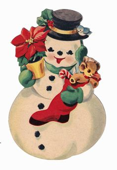 FREE images for Christmas <> Mr. Snowman laden with a poinsettia plant and a stuffed stocking... (Note the little bluebird along for the ride!)