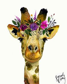 Giraffe with Floral Crown Print by DandelionPaperCo on Etsy Animal Paintings, Animal Drawings, Art Drawings, Watercolor Animals, Watercolor Paintings, Tattoo Watercolor, Watercolour, Giraffe Art, Giraffe Drawing