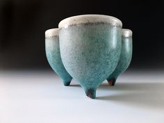 Tiny tripod cluster planter with turquoise and white glazing, by Mickey Fielding, TerraForma Studio Ceramics
