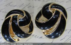 Trifari - Black Enamel yellow gold tone clip earrings   - MAKE $ OFFER DreamLandSpecialties@comcast.net