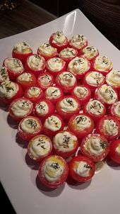 Gefüllte Tomaten mit Schafskäsecreme Stuffed tomatoes with feta cheese cream, a refined recipe from the breakfast category. Brunch Recipes, Appetizer Recipes, Snack Recipes, Appetizers, Fish Recipes, Bread Recipes, Chicken Recipes, Sheep Cheese, Party Buffet