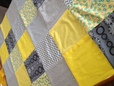 Yellow and Grey Patchwork Cot Quilt. Love this. Nursery, baby, Snuggly Jacks