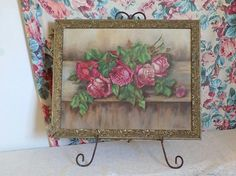 LARGE Antique Oil Painting on Canvas Board Roses by VintagetownUSA