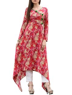 Amazing rayon multicolor embellished fancy designer long party & festive a-line floral print kurti enhance your look for party and festive occasion. #multicolor #trailcut @looksgud
