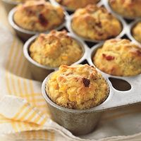 Corn Bacon Muffins | http://www.rachaelraymag.com/Recipes/rachael-ray-magazine-recipe-search/on-hand-ingredients-recipes/corn-bacon-muffins