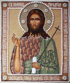 Икона Крестителя Иоанна в окладе вышитом бисером и жемчугом