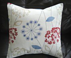 Throw pillows dandelion clock seeds allium crimson red navy blue charcoal gray powder blue cushion shams UK designer fabric One 18 inch