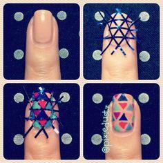 geometric nail design! I would do a white base coat though