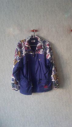 Vintage Waterproof Fabric Vinyl Jacket Aqua Sport Shell Suit Colorblock Jacket 1990s Sport windbreaker hood in the collar by TinutesCreations on Etsy