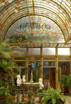 Art Nouveau Architecture in Belgium: Wintertuin (winter garden) of the Ursulines Institute, Onze-Lieve-Vrouw-Waver,Belgium,ca 1900
