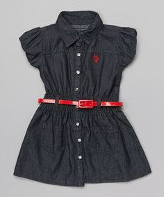 Dark Denim Belted Polo Dress - Infant, Toddler & Girls on #zulily #ad *cute