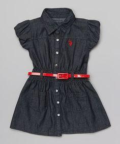 Love this Dark Denim Belted Polo Dress - Infant, Toddler & Girls by U.S. Polo Assn. on #zulily! #zulilyfinds
