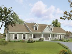 This home features a spacious country porch that is perfect for enjoying the outdoors. The open living area, consisting of the vaulted great room, sunny breakfast area and kitchen with snack[...] Type: House Plan, Sq.Ft.: 1814, Levels: 1, Bedrooms: 3, Bathrooms: 2, Width: 89 ft., Depth: 40 ft.