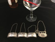 4 LIQUOR TAGS, 3 Sterling Silver Williamsburg Stieff, Brandy, Bourbon, Scotch,  and Gin, 1950s Barware by Debonyx on Etsy https://www.etsy.com/listing/568250027/4-liquor-tags-3-sterling-silver