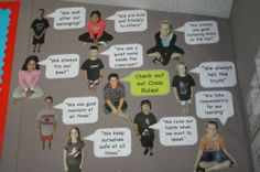 student photos with speech bubbles to display classroom rules