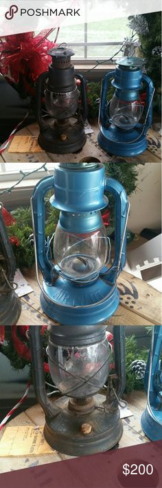 Lanterns Antique 200 Trade One blue one black don't know how old they are but very cool I cleaned them as best as I could one needs a lid came with a cork Other