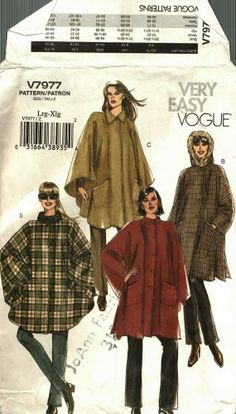 A fun take on classic dramatic outerwear! Vogue V7977 7977 Pattern Uncut L XL 16 18 20 22 Unlined Cape Easy to Sew