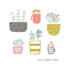 I scanned and re coloured my page from this morning #littleplants #illustration #colour #plants #potplants by sallypayne_design