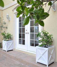 DIY Criss Cross Outdoor Planters french doors and planters Diy Planters Outdoor, White Planters, Outdoor Decor, White Planter Boxes, Wooden Planter Boxes Diy, Square Planters, Outdoor Spaces, Outdoor Living, Planter Box Plans