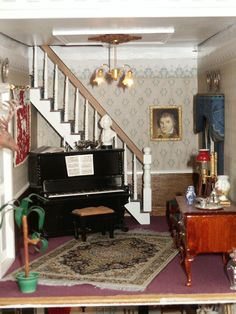 Piano hall Foyers, Dollhouses, Fireplaces, Dollhouse Miniatures, Piano, Entrance, Room, Life, Furniture