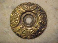 1 Antique Edwardian Stamped Brass Small Round by StarPower99, $2.60