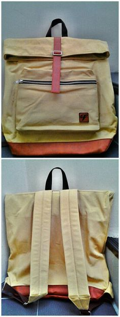 Khaki Gold Backpack, with canvas and sythetic leather