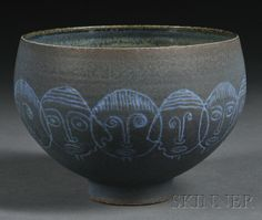 Edwin and Mary Scheier Pottery Bowl  Decorated glazed earthenware  New Hampshire, mid-20th century