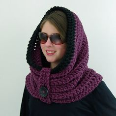 Crochet Patterns Chunky Crochet Chunky Infinity Hooded Cowl Hoodie in Fig by PeTiArtisan Hooded Scarf Pattern, Crochet Hooded Scarf, Hooded Cowl, Crochet Beanie, Crochet Scarves, Crochet Shawl, Knit Crochet, Crochet Neck Warmer, Crochet Buttons