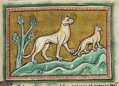 Animal detail from medieval illuminated manuscript  - British Library Royal MS 12 F XIII - c 1230-14th century - f11r