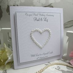 Pearl Wedding Anniversary Card - Handmade, Personalised - Pearl Heart