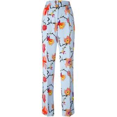 Emilio Pucci Floral Print Trousers ($1,160) ❤ liked on Polyvore featuring pants, blue, floral trousers, floral printed pants, emilio pucci, emilio pucci pants and light blue pants