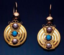 Victorian Era Antique Russian Polished And Matte Rose And Yellow Gold, Turquoise And Pearl Earrings  c. 1872