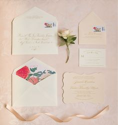 Blush and gold wedding invitations for a vintage, Southern wedding I Custom by Nico and Lala