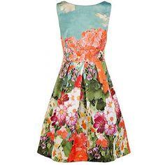 Vintage Round Collar Floral Print Backless Sleeveless Dress